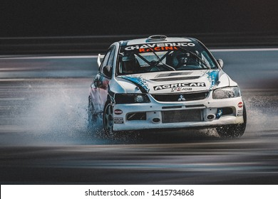 Milan, Italy, June 03, 2018: Mitsubishi Lancer Evolution in action during the 1st Drift Show Il Destriero at the Iper Drive in Milan.