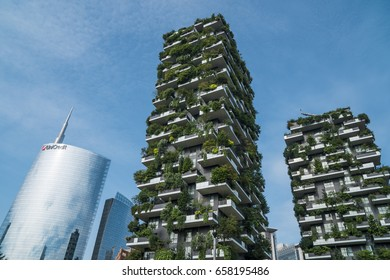 "MILAN, ITALY - JUNE 10 2017: ""Bosco Verticale"" (""Vertical Forest""), a pair of residential towers in Porta Nuova district, Milan; Unicredit skyscraper on the background."