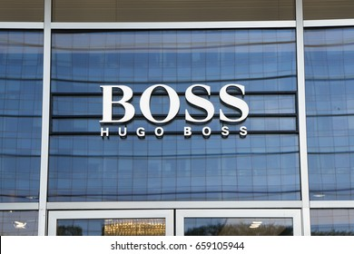 Milan, Italy - June 10, 2017: Hugo Boss sign on a store in Gae Aulenti square, Milan, Italy.