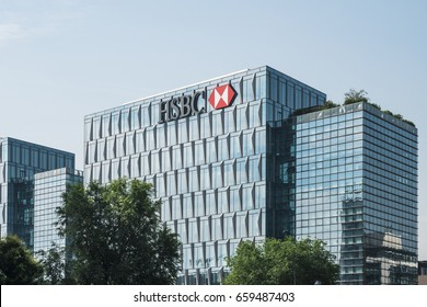 Milan, Italy - June 10, 2017: HSBC sign and logo on headquarters building in Milan, Italy.