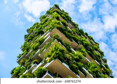 MILAN, ITALY - JUNE 12, 2017: Bosco Verticale  - Vertical Forest skyscraper with trees growing on balconies, designed by Stefano Boeri architect.