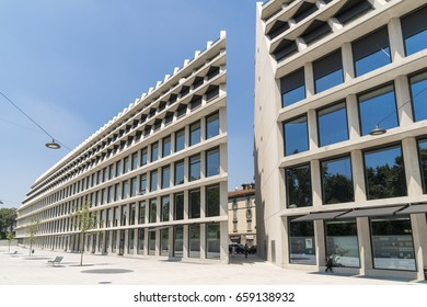 Milan, Italy - June 12, 2017: Giangiacomo Feltrinelli Foundation, the new building designed by Herzog & de Meuron in Porta Volta district, Milan, Italy.