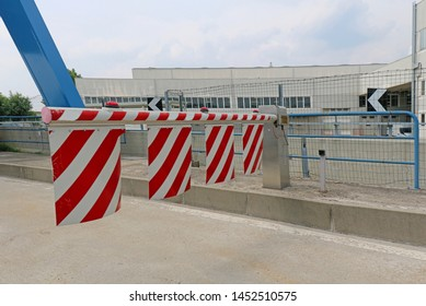 Milan, Italy - June 15, 2019: Closed barrier toll ramp on security entrance of Italian motorway.