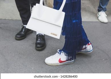 MILAN, ITALY - JUNE 15: Detail of shoes outside Neil Barrett fashion show during Milan Men's Fashion Week on JUNE 15, 2019 in Milan.