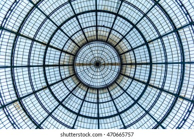 MILAN, ITALY - JUNE 16, 2016:  Galleria Vittorio Emanuele, perfectly symmetrical roof dome