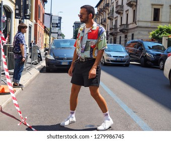 MILAN, ITALY -JUNE 16, 2018: Eccentric man street style outfit before REPRESENT fashion show, during Milan Fashion Week Men and women spring collections.