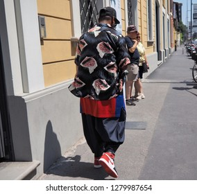 MILAN, ITALY -JUNE 16, 2018: Eccentric man in the street before REPRESENT fashion show, during Milan Fashion Week Men and women spring collections.