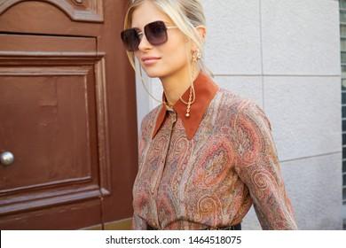 MILAN, ITALY - JUNE 16, 2019: Xenia Adonts before Etro fashion show, Milan Fashion Week street style