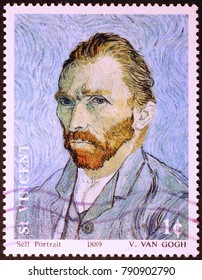 Milan, Italy - June 17, 2016: Self-portrait by Vincent Van Gogh on stamp