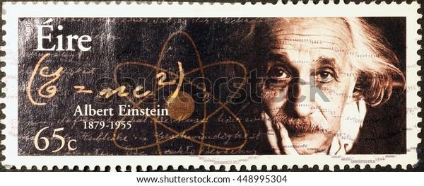 Milan, Italy - June 17, 2016: Albert Einstein on irish postage stamp