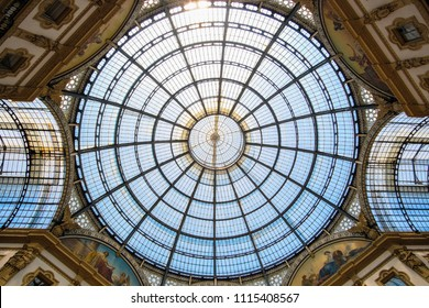 Milan, Italy - June, 17, 2018: kupol of Galleria Vittorio Emanuele II in Milan