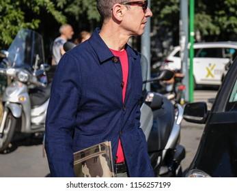 MILAN, Italy- June 17 2018:Men on the street during the Milan Fashion Week