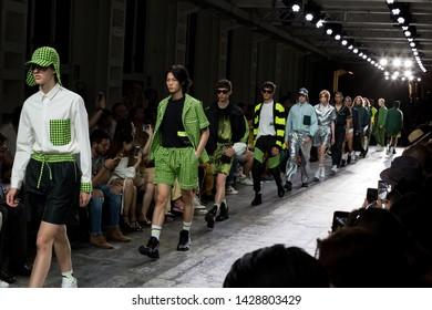 MILAN, ITALY - JUNE 17: Beautiful models walk the runway at David Catalan show during Milan Men's Fashion Week on JUNE 17, 2019 in Milan.