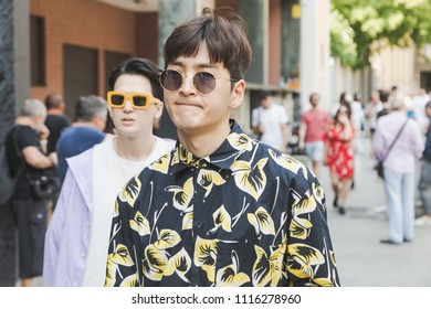 MILAN, ITALY - JUNE 17: Fashionable people poses outside Vien fashion show during Milan Men's Fashion Week on JUNE 17, 2018 in Milan.