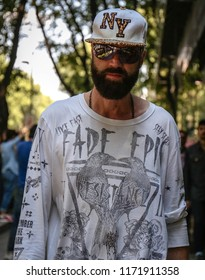 MILAN, Italy- June 18 2018:Raimondo Rossi on  the street during the Milan Fashion Week