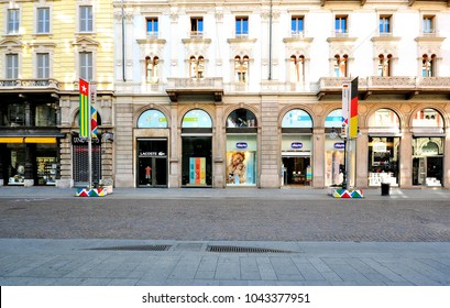 MILAN, ITALY - JUNE 20: View of the Via Dante street in Milan on June 20, 2015. Milan is the capital of Lombardy and one of the most largest cities of Italy.