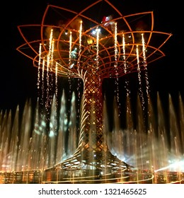 MILAN, ITALY - JUNE 2015: the tree of life (albero della vita) during night water lights show. The tree of life is the symbol of Expo 2015 in Milan, Italy