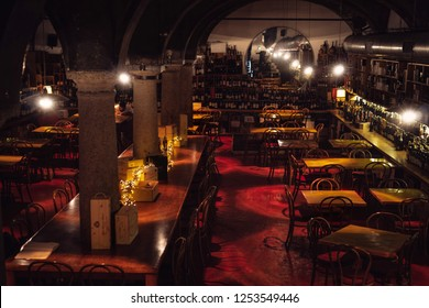 MILAN, ITALY - JUNE, 2018: Interior of N'Ombra de Vin, the most evocative place when you think about and talk about wine in Milan. A true wine/food/chic meeting spot, hidden in Brera quarter.