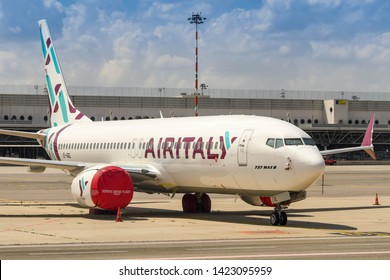 MILAN, ITALY - JUNE 2019: Air Italy Boeing 737 Max 8 parked at Milan Malepensa airport. Operations using this aircraft type were suspended as a result of flight safety concerns.
