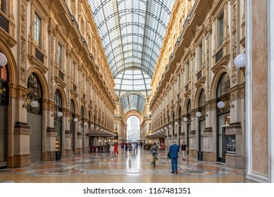MILAN, ITALY - June 21, 2018: Galleria Vittorio Emanuele II in Milano. This is one of the world's oldest shopping malls, designed and built by Giuseppe Mengoni between 1865 and 1877