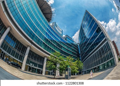 MILAN, ITALY - JUNE 22, 2018. Wide angle view with futuristic architecture of the Palace of the Regional Government of Lombardy.