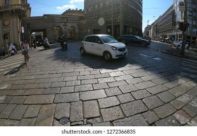 Milan / Italy – June 22, 2018: Via Alessandro Manzoni Street, Archi di Porta Nuova, Gates of the Medieval Walls Around Milan