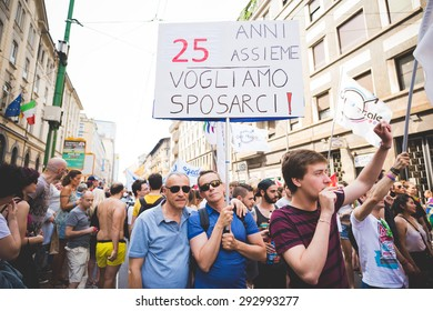 MILAN, ITALY - JUNE 27: gay pride parade in which thousand of people took the street to protest for their legal rights on JUNE 27, 2015 in Milan