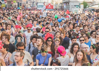 MILAN, ITALY - JUNE 27: People at gay pride parade in Milan JUNE 27, 2015. Thousands of people march in the city streets for the annual gay pride parade, claiming equality and legal rights.