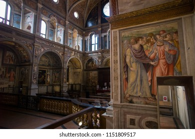 Milan, Italy - June 28 2017: The interior painting in Church of San Maurizio al Monastero Maggiore.