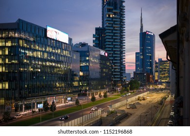 Milan, Italy - June 28 2017: The sunset view of business center in Centrale Milan.
