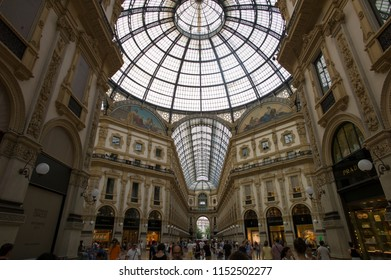 Milan, Italy - June 28 2017: The Galleria Vittorio Emanuele II, the oldest active shopping mall and a major landmark of Milan, Italy