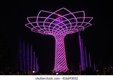 MILAN, ITALY - JUNE 29 2015: Tree of Life at Expo 2015 in Milan, Universal Exhibition dedicated to food, in June 2015 in Milan, Italy