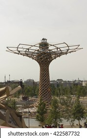 "MILAN, ITALY - JUNE 29 2015: View from the top of ""Albero della Vita"", tree of life, symbol of 2015 Universal exhibition held in Milan, on June 29 2015"