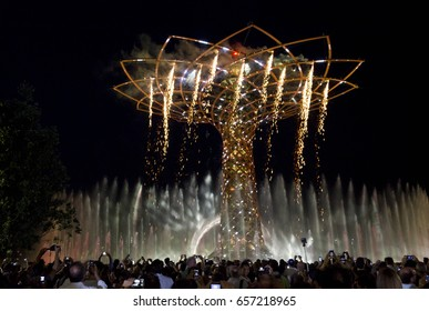 MILAN, ITALY - JUNE 29 2015: The amazing show of Tree of Life at Expo 2015 in Milan, Universal Exhibition dedicated to food, in June 2015 in Milan, Italy