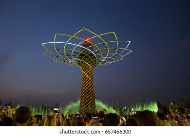 MILAN, ITALY - JUNE 29 2015: Tree of Life show at Expo 2015 in Milan, Universal Exhibition dedicated to food, in June 2015 in Milan, Italy