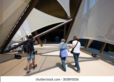 MILAN, ITALY - JUNE 3, 2015: People visit Expo 2015, universal exposition on the theme of food - Kuwait Pavilion