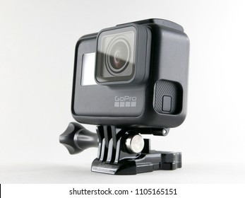 Milan, Italy - June 4, 2018: close up on a brand new Gopro Hero 6 black, resting on white background