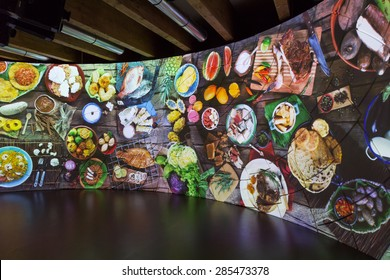 MILAN, ITALY - JUNE 5: Inside Colombia pavilion at Expo, universal exposition on the theme of food on JUNE 5, 2015 in Milan.