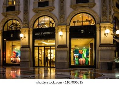 Milan, Italy - June 6, 2018: Louis Vuitton brand boutique shop in Milano Gallery Vittorio Emanuele II - shopping mall