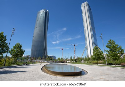 "MILAN, ITALY, JUNE 7, 2017 - Isozaki Tower and Hadid Tower in ""City Life"" complex in 3 Torri Milan place, modern buildings and condos."