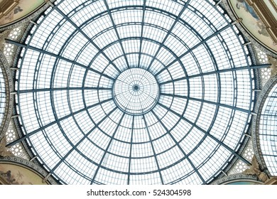 MILAN, ITALY - JUNE 8, 2016: Glass dome of Galleria Vittorio Emanuele II shopping gallery