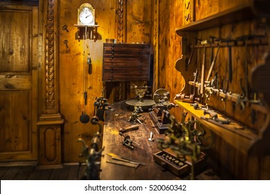MILAN, ITALY - JUNE 9, 2016: watchmaker's workshop at the Science and Technology Museum Leonardo da Vinci