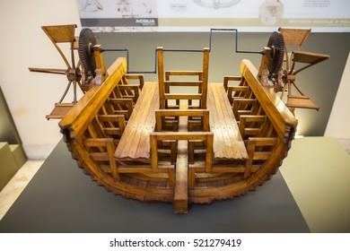 MILAN, ITALY - JUNE 9, 2016: paddle boat models of Leonardo da Vinci's scientific studies displayed at the Science and Technology Museum Leonardo da Vinci