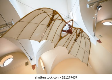 MILAN, ITALY - JUNE 9, 2016: flying machine models of Leonardo da Vinci's scientific studies displayed at the Science and Technology Museum Leonardo da Vinci
