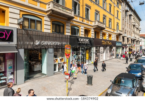 MILAN, ITALY - MAR 29, 2014: Shop on the Corso Buenos Aires, Milan, Italy. It's one of the most popular shopping streets in Europe
