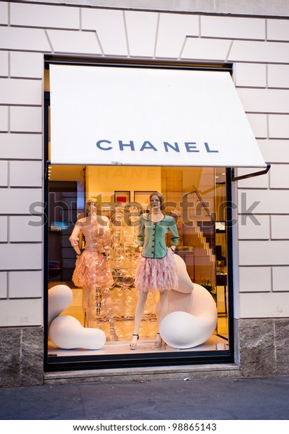 """MILAN, ITALY - MAR 30: Chanel boutique near Via Montenapoleone in Milan on March 30, 2012. Chanel is a french haute-couture fashion house founded by the couturier Gabrielle """"Coco"""" Chanel in 1909."""