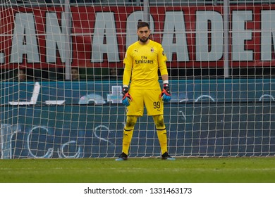 Milan, Italy. March 02, 2019. Campionato Italiano di Serie A. Milan - Sassuolo 1-0. Gianluigi Donnarumma, goalkeeper Milan.