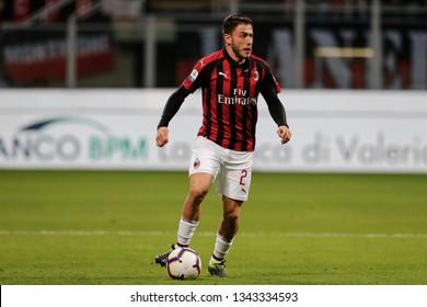 Milan, Italy. March 02, 2019. Campionato Italiano di Serie A. Milan - Sassuolo 1-0. Davide Calabria, Milan.