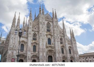 MILAN, ITALY - March 05, 2017: Facade of Gothic Cathedral Duomo