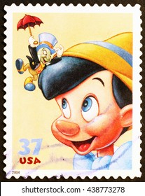 Milan, Italy - March 06, 2014: Pinocchio by Walt Disney on US postage stamp